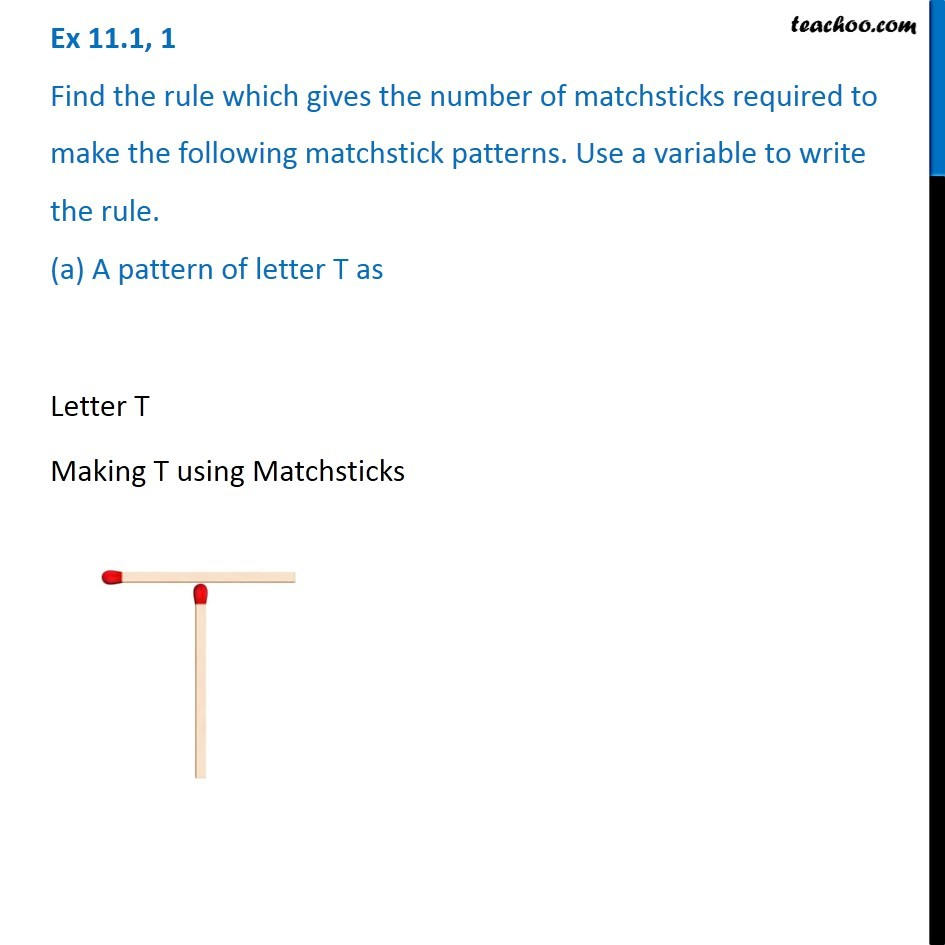 Ex 11.1, 1 - Find The Rule Which Gives The Number Of Matchsticks