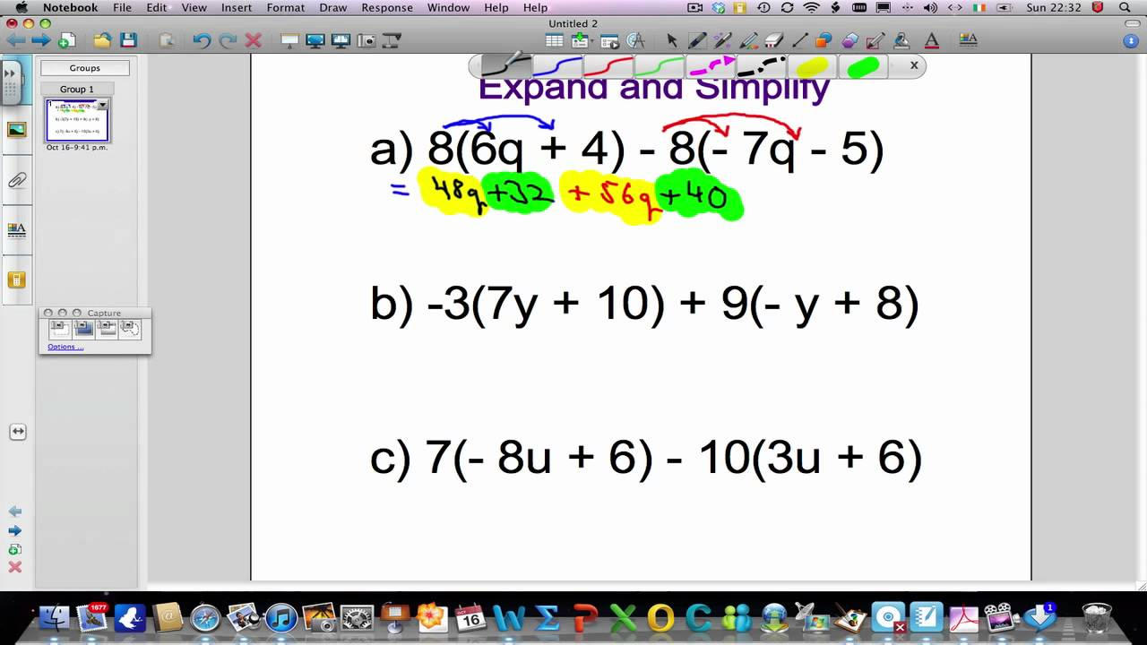 Expand And Simplify Algebraic Expressions (Solutions