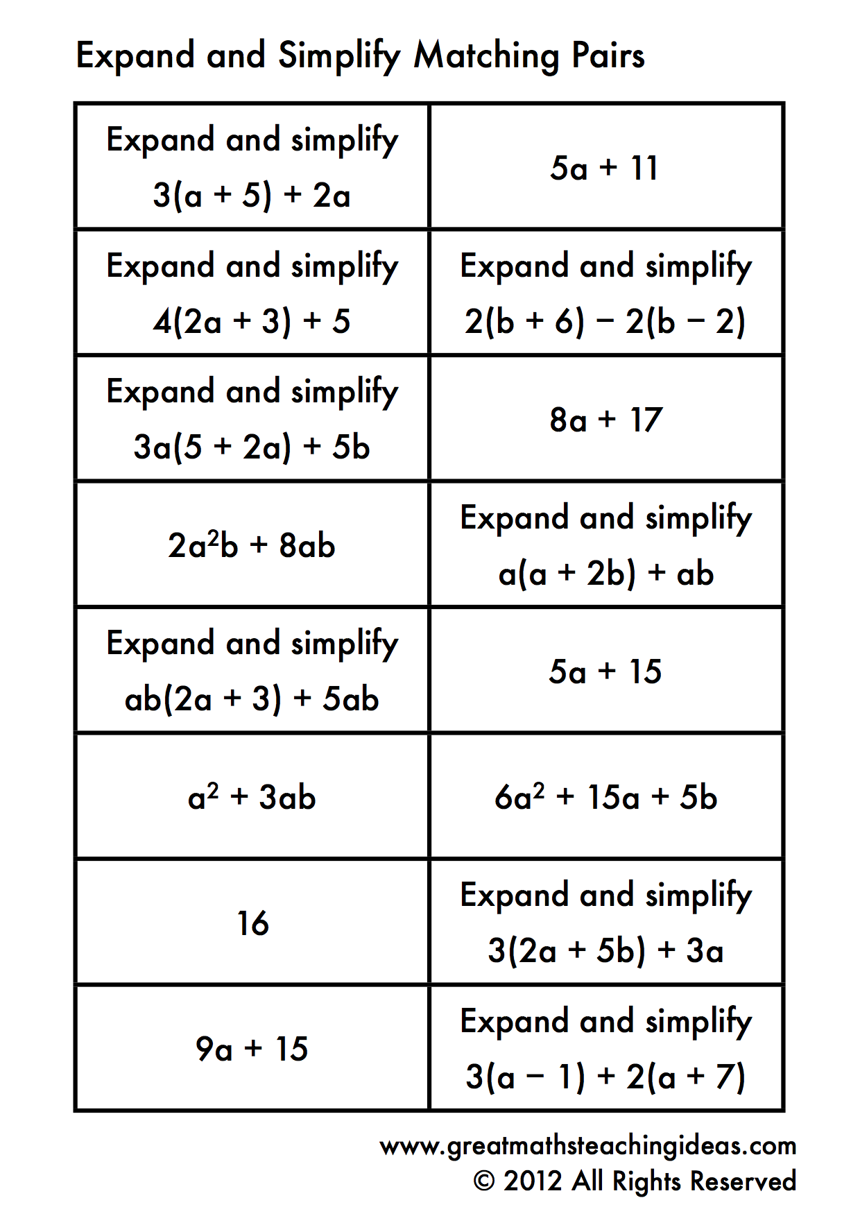 Expand And Simplify Single Brackets- Matching Pairs