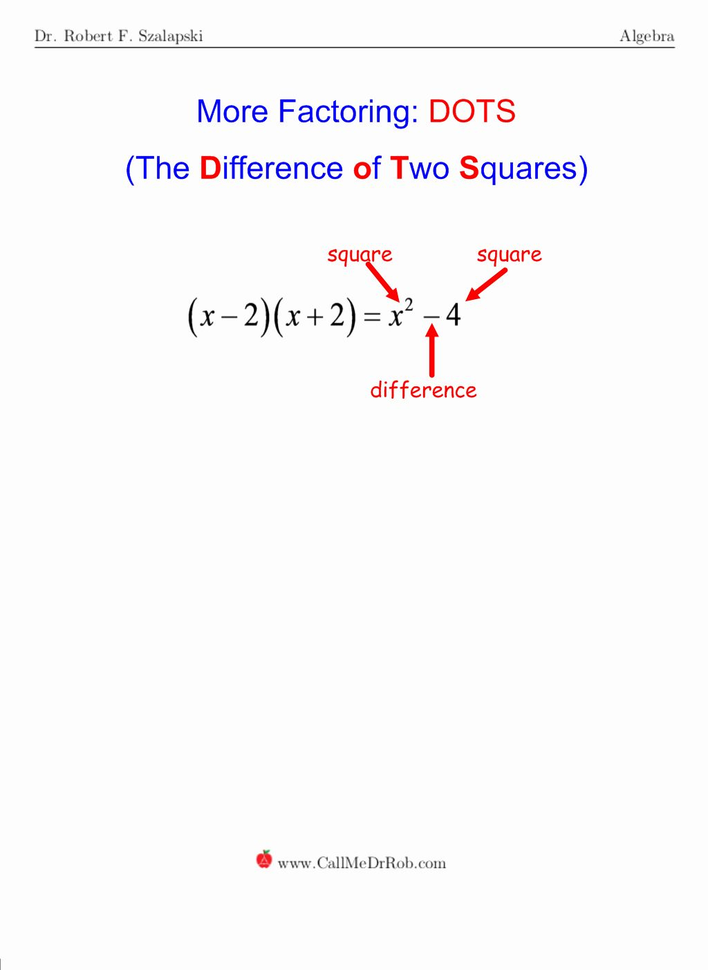Factoring Difference Of Squares Worksheet Fresh Dots