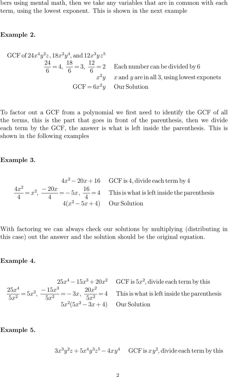 Factoring - Greatest Common Factor - Pdf Free Download