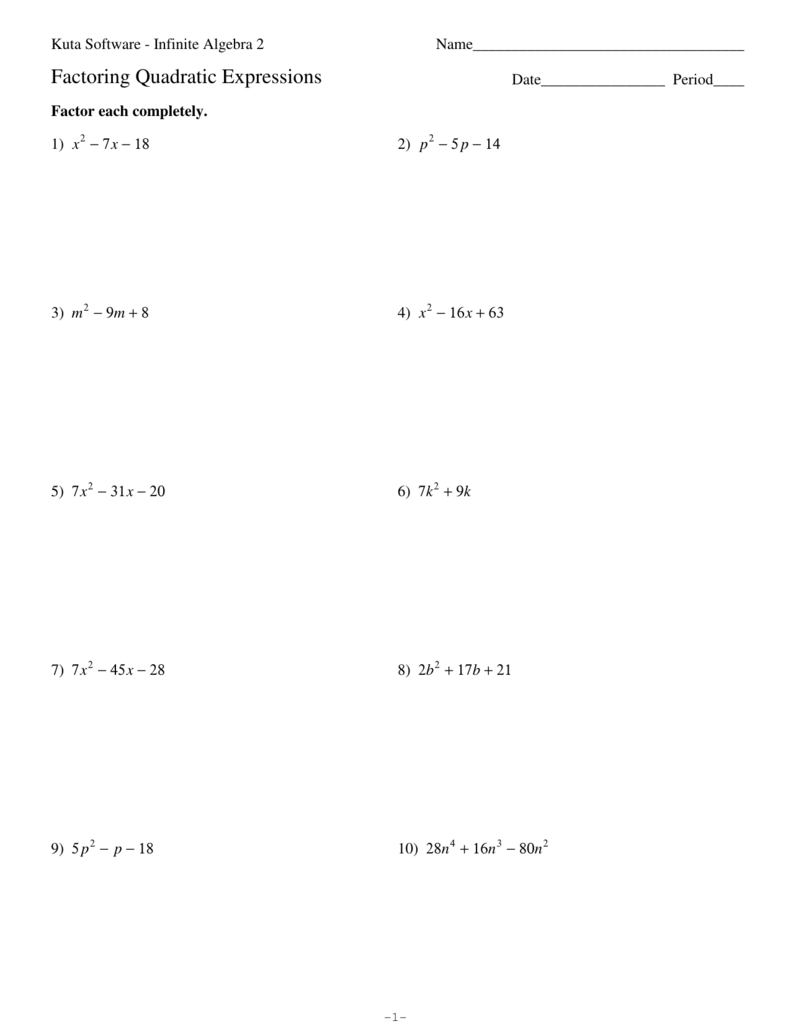 Factoring Quadratics Worksheet Answers - Promotiontablecovers
