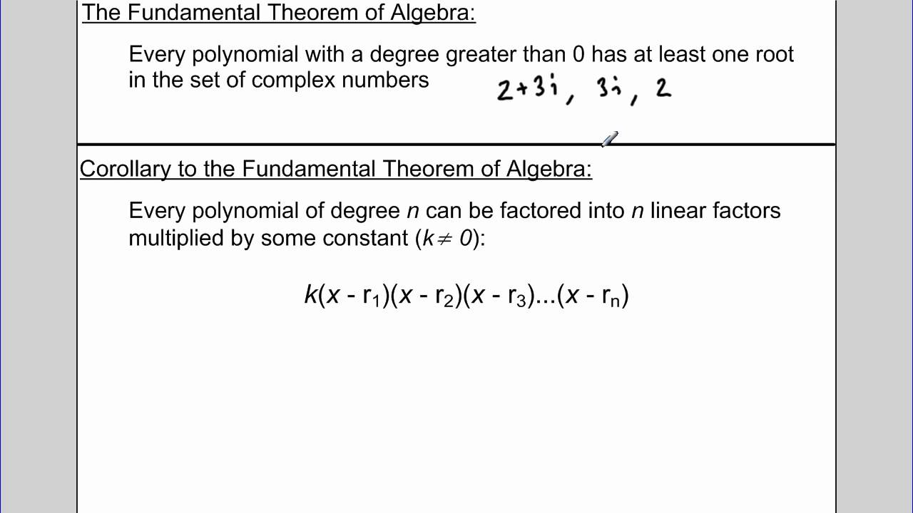 Fundamental Theorem Of Algebra Examples (Examples, Solutions