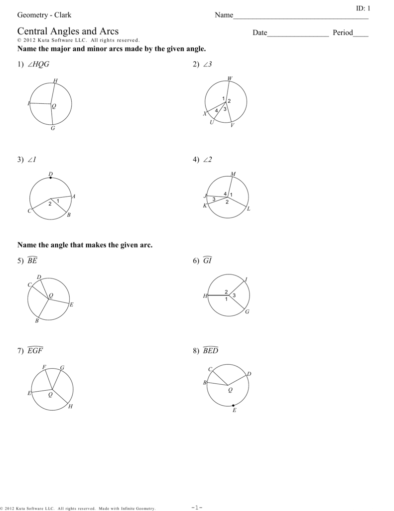 Geometry - Clark - Central Angles And Arcs