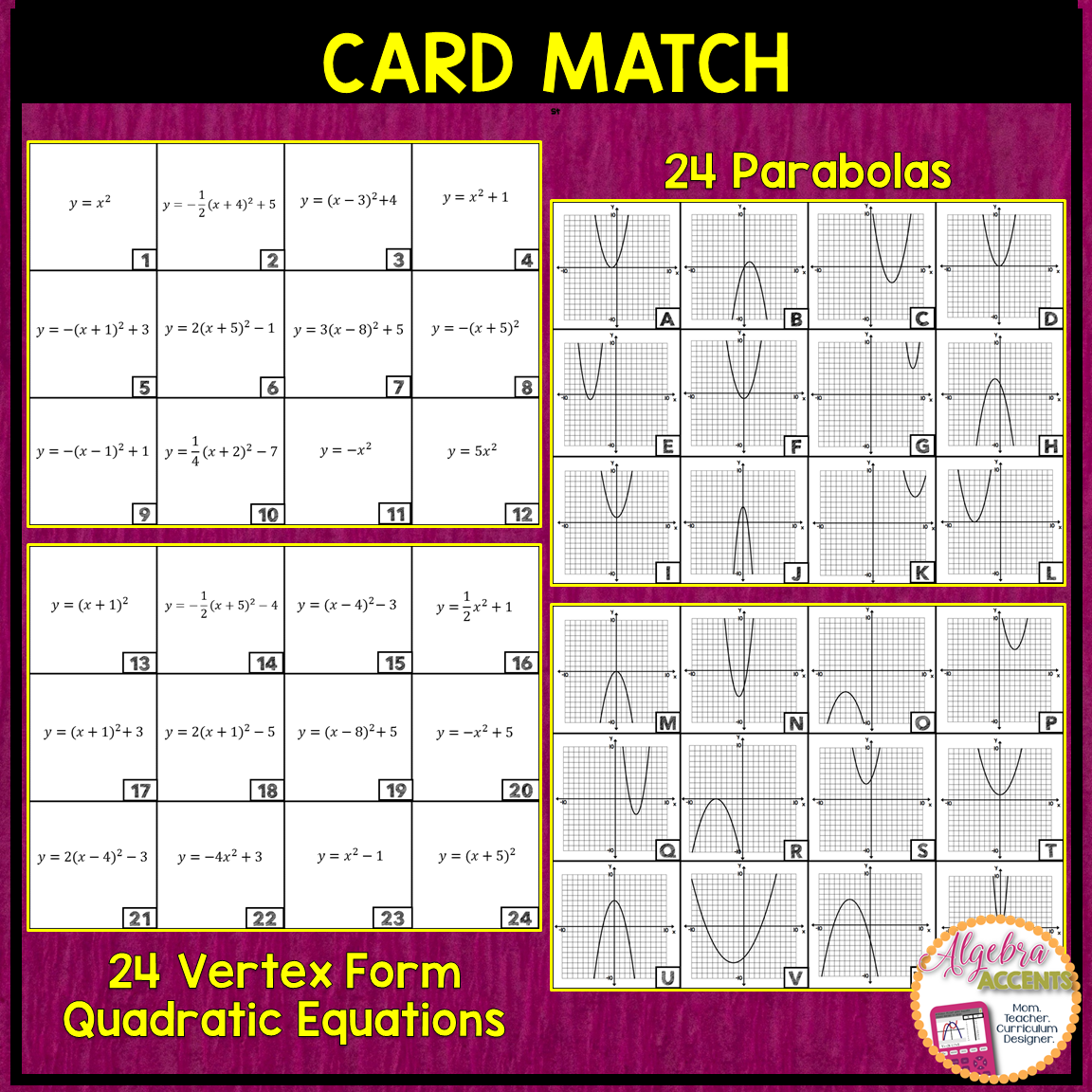 Graphing Quadratic Equations: Vertex Form To Graph Matching