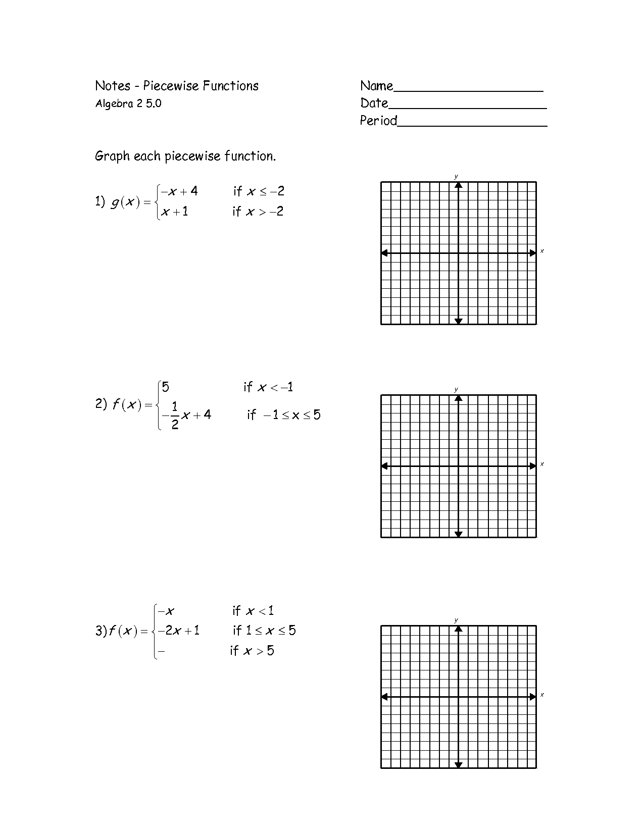 Graphs Of Piecewise Functions Worksheet - Google Search