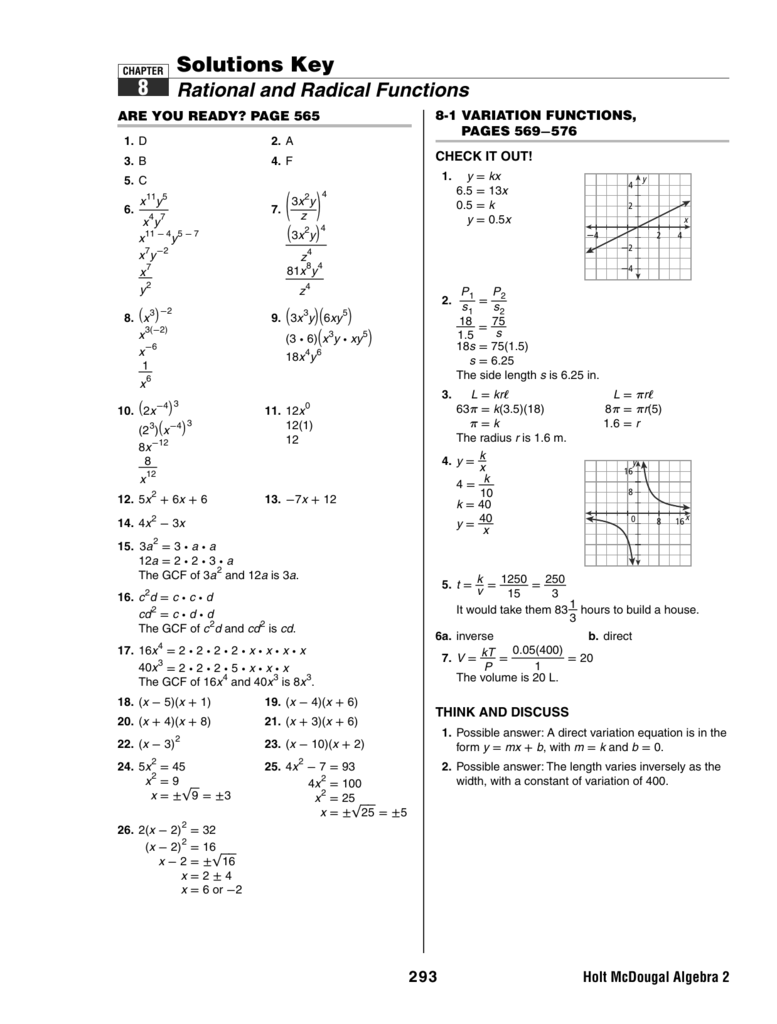 Holt Algebra 2 Lesson 8 5 Solving Rational Equations And