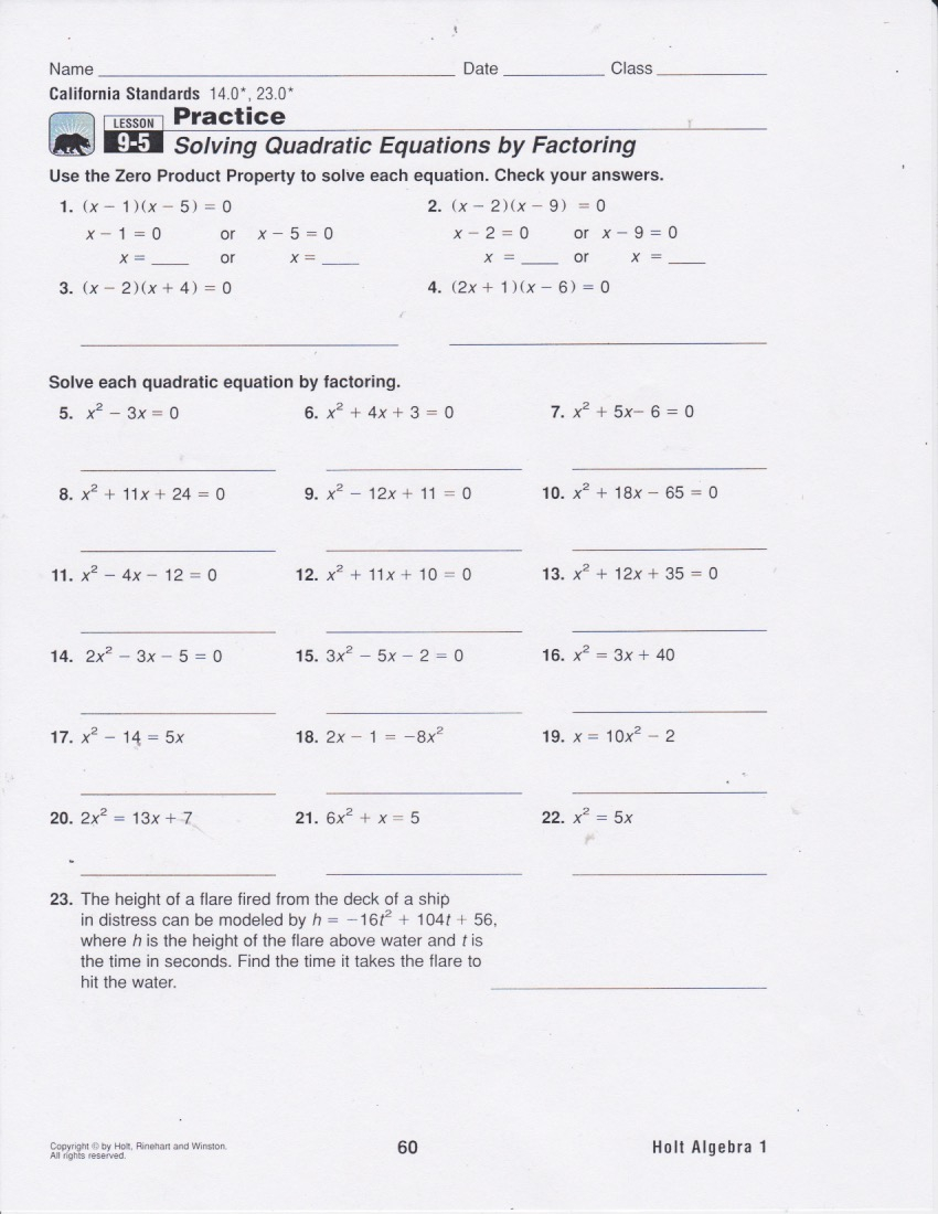 Honors Algebra: Today's Work - Have A Problem? Use Math To