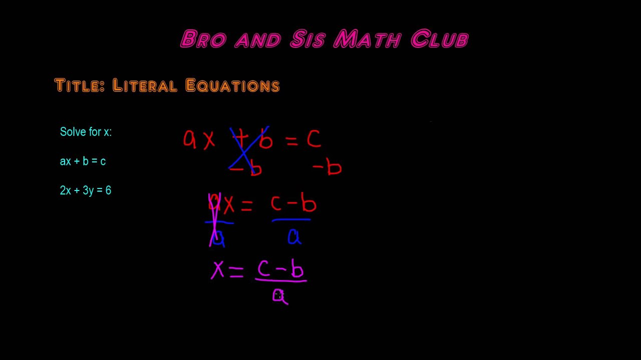 How To Solve Literal Equations - Algebra I