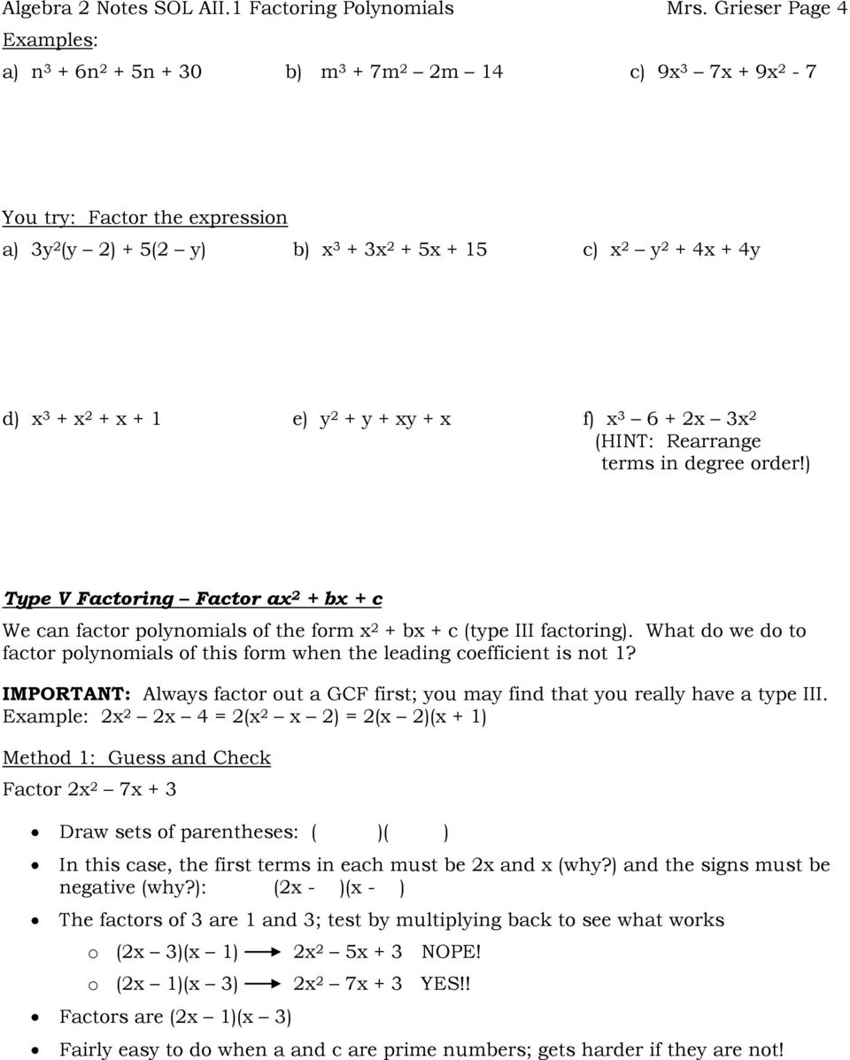 In Algebra, Factorrewriting A Polynomial As A Product Of