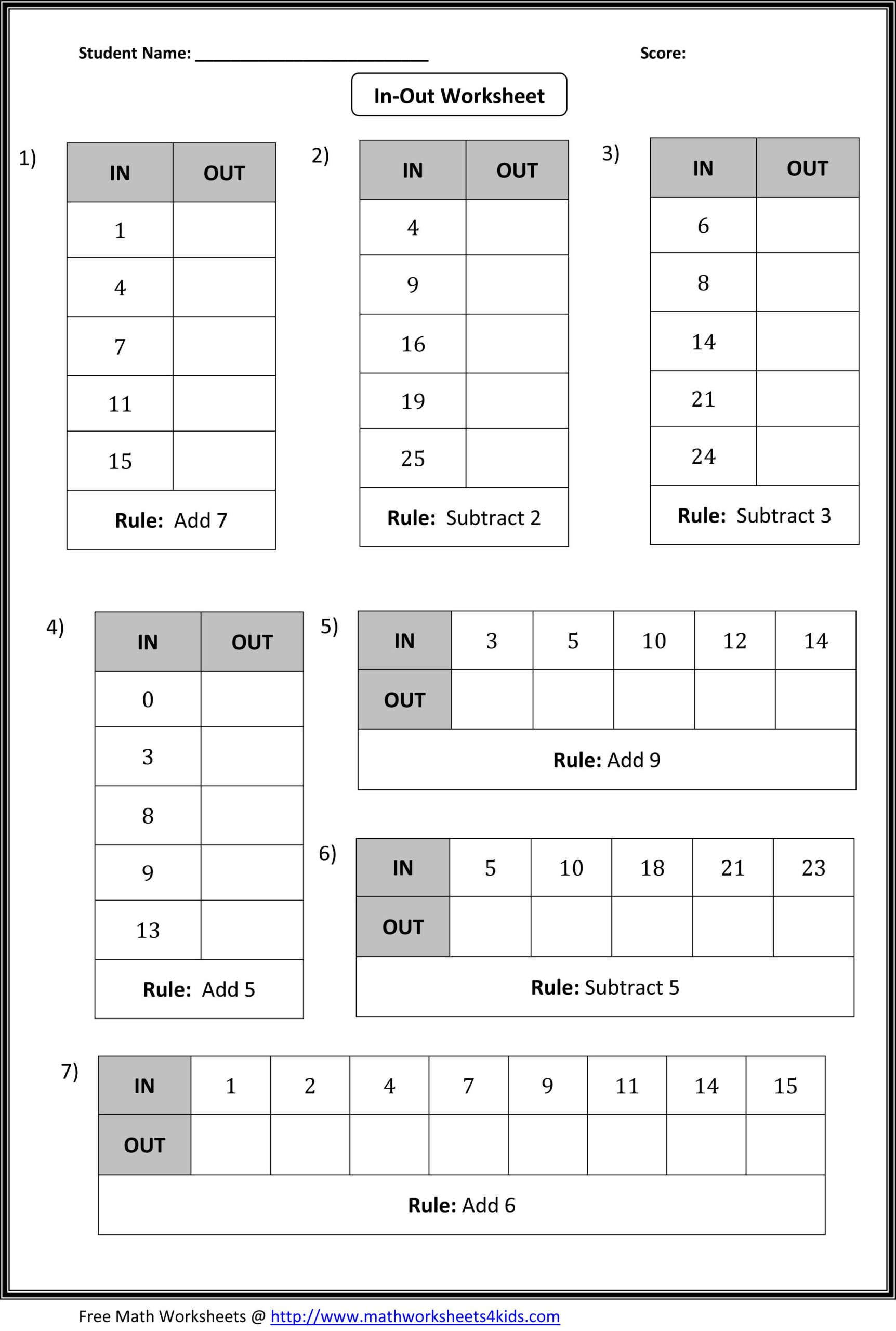 In And Out Worksheets | Math Patterns, Printable Math