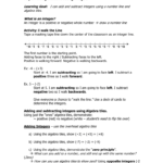 Integers Worksheet And Note