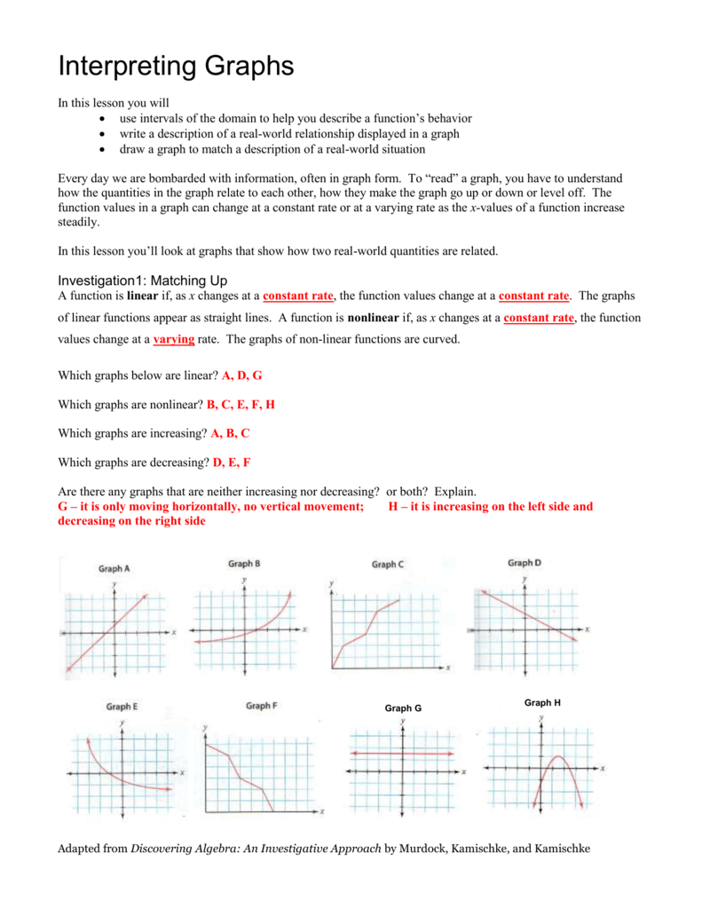 Interpreting Graphs Notes-Answers