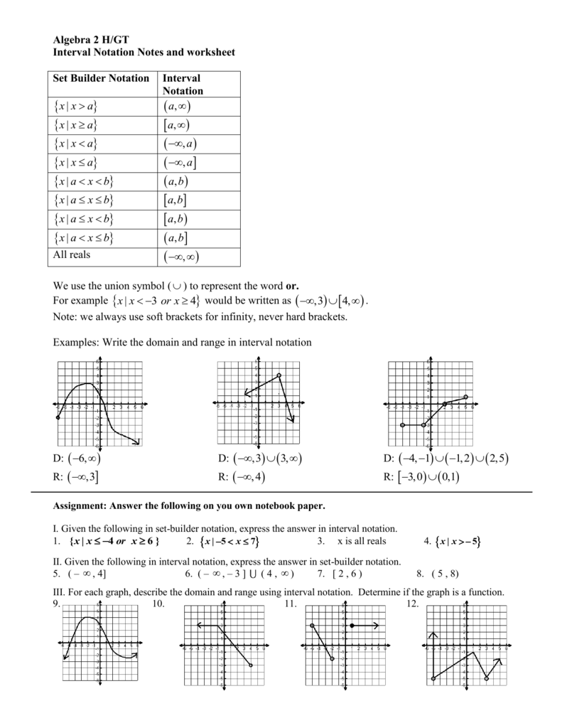 Interval Notation - Fort Bend Isd / Homepage