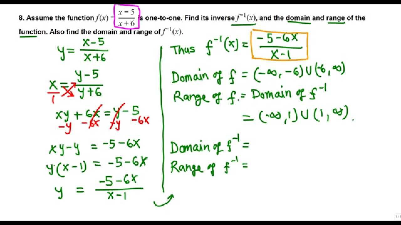 Inverse, Domain And Range Of A Rational Function (College Algebra)