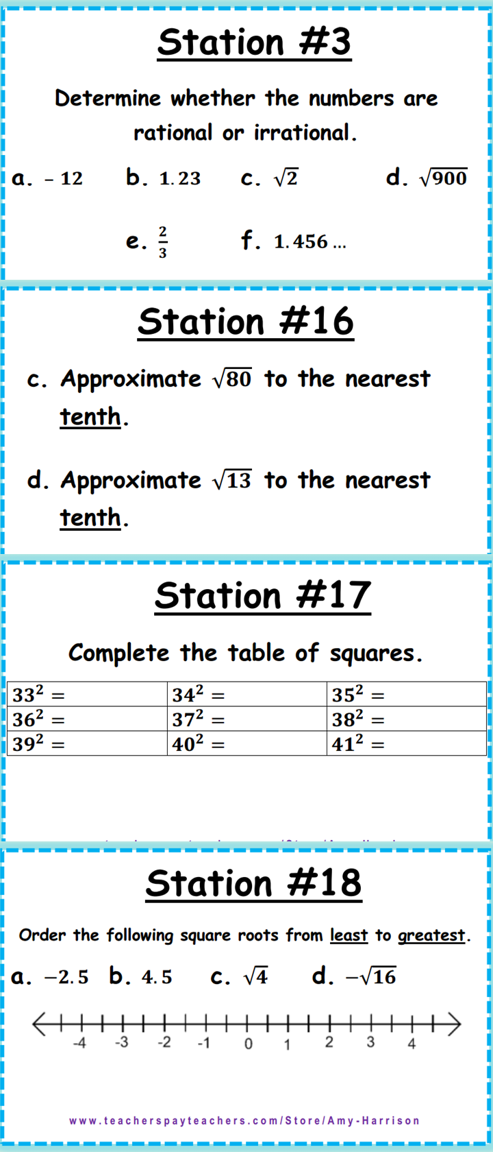 Irrational And Rational Numbers Task Cards - 8.ns.a.1 & 8.ns