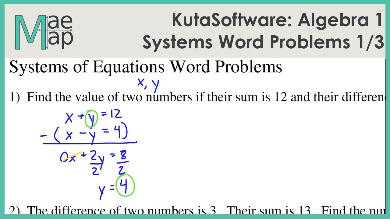Kutasoftware: Algebra 1- Systems Of Equations Word Problems Part 1