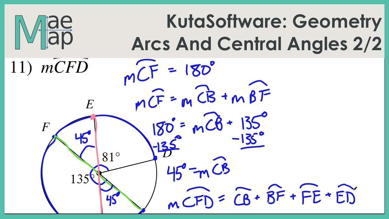 Kutasoftware: Geometry- Arcs And Central Angles Part 2