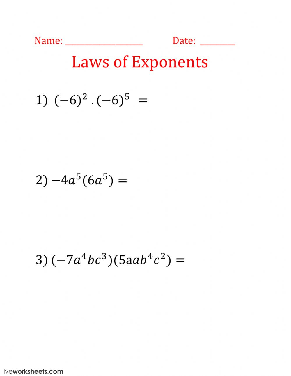 Laws Of Exponents - Interactive Worksheet