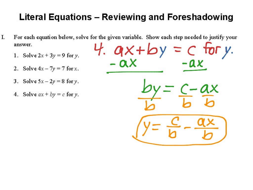 Literal Equations Worksheet Answer - Promotiontablecovers
