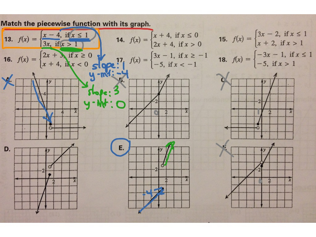 Matching Piecewise Functions To Their Graphs   Math, Algebra