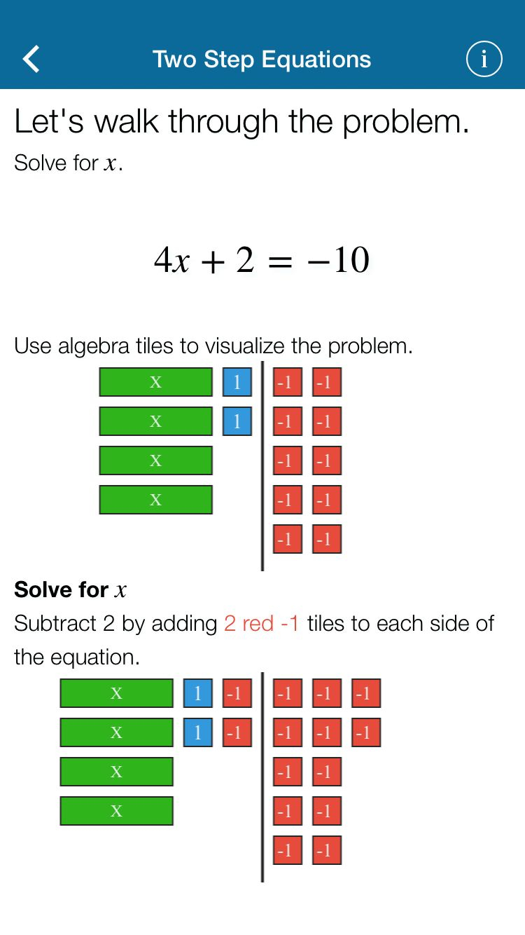 Mathematics App: One Variable Equations 7.ee.a.1 Students