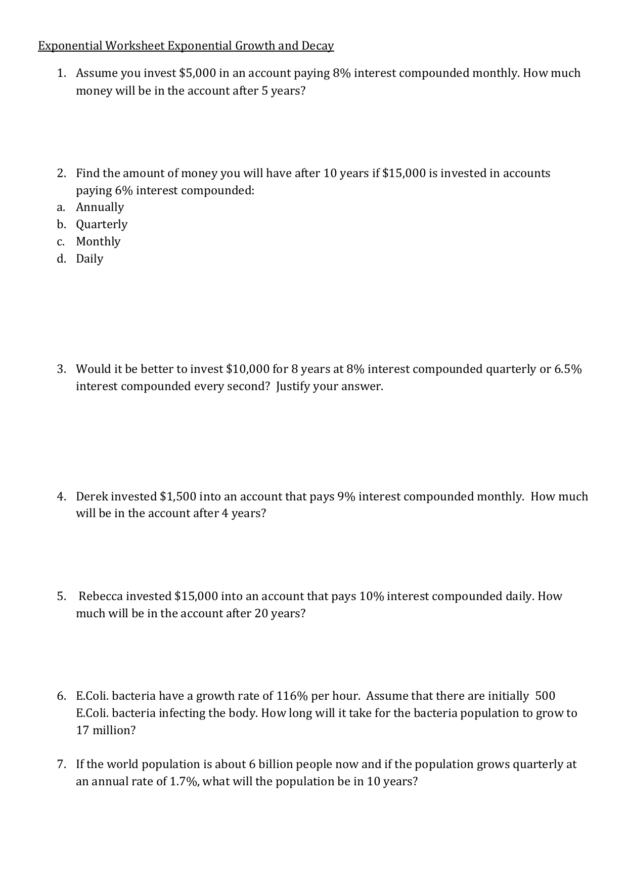 Modeling Exponential Growth And Decay Worksheet | Printable