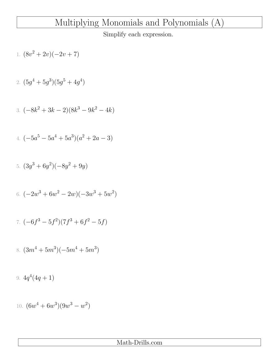 Multiplying Monomials And Polynomials With Two Factors Mixed