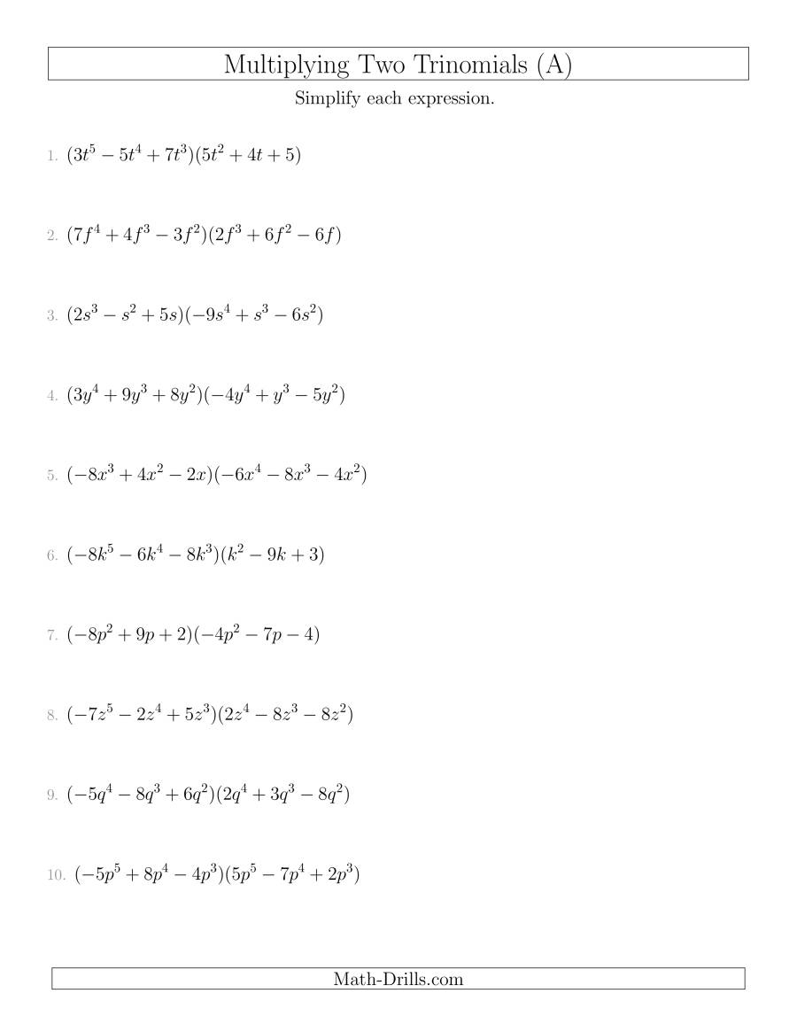 Multiplying Two Trinomials (A)