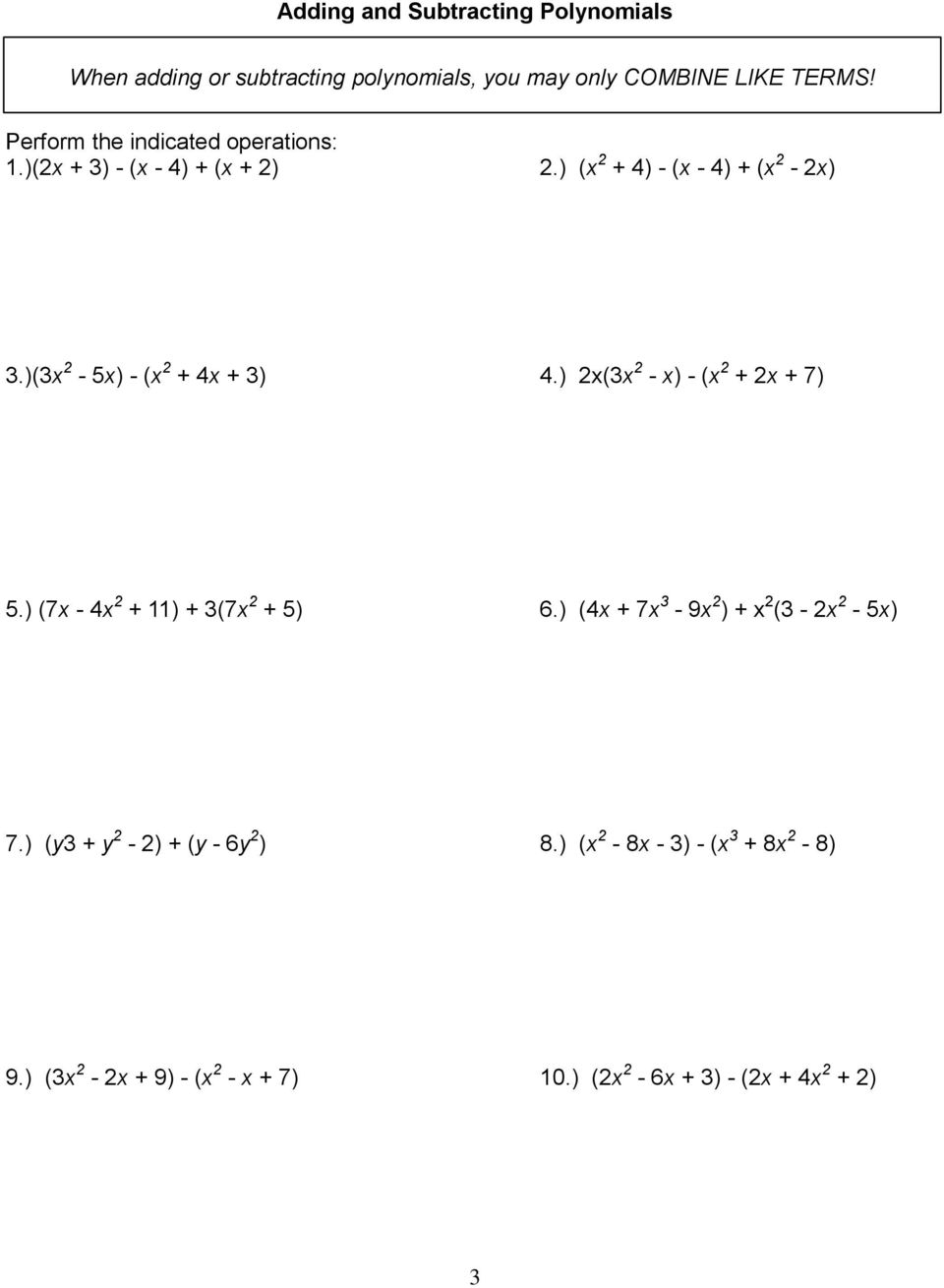 Name Intro To Algebra 2. Unit 1: Polynomials And Factoring