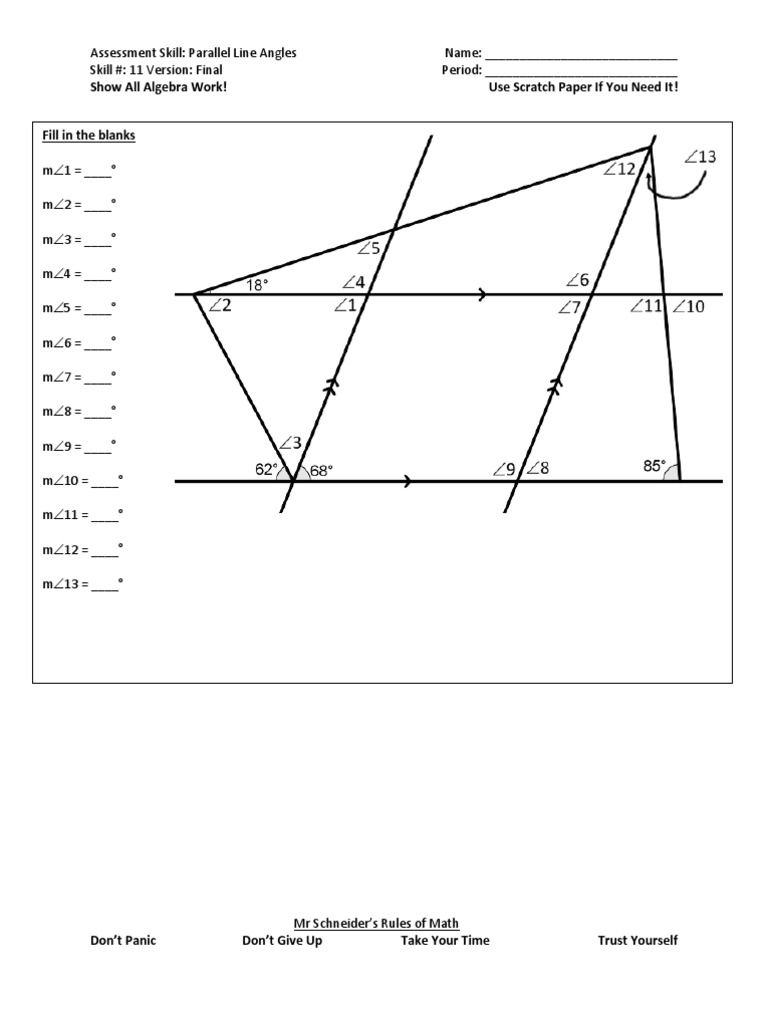 Parallel Line Angles Final   Angles Worksheet, Math Geometry