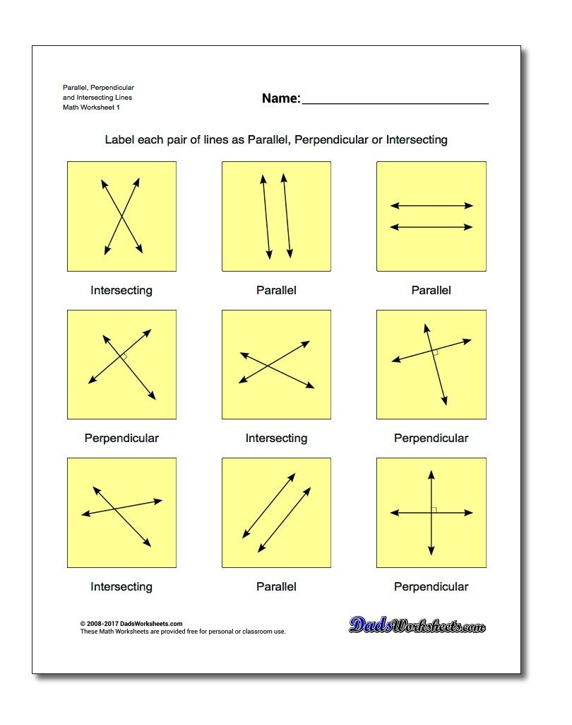 Parallel, Perpendicular And Intersecting Lines Basic