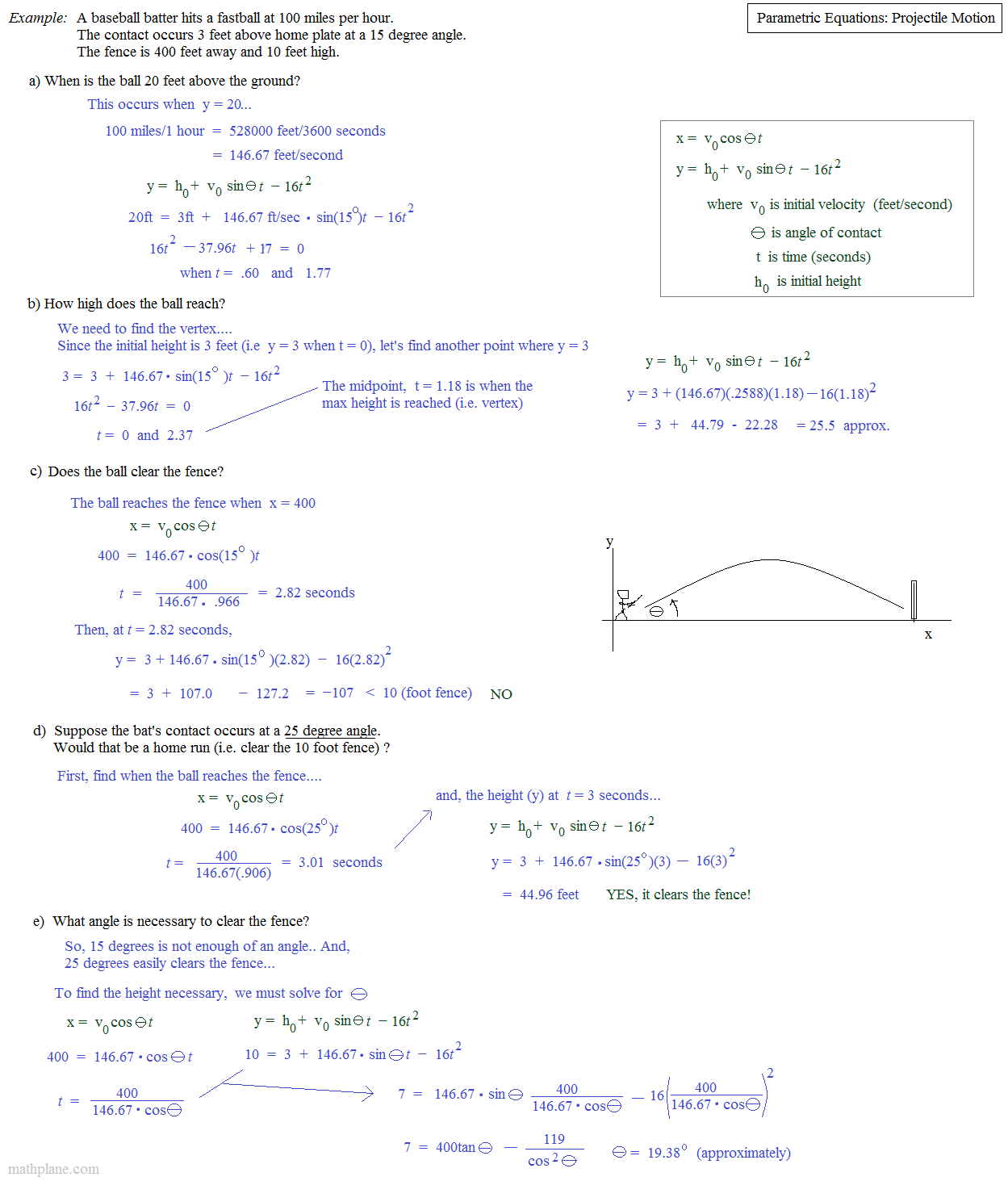 Parametric Equations Word Problems Worksheet With Answers