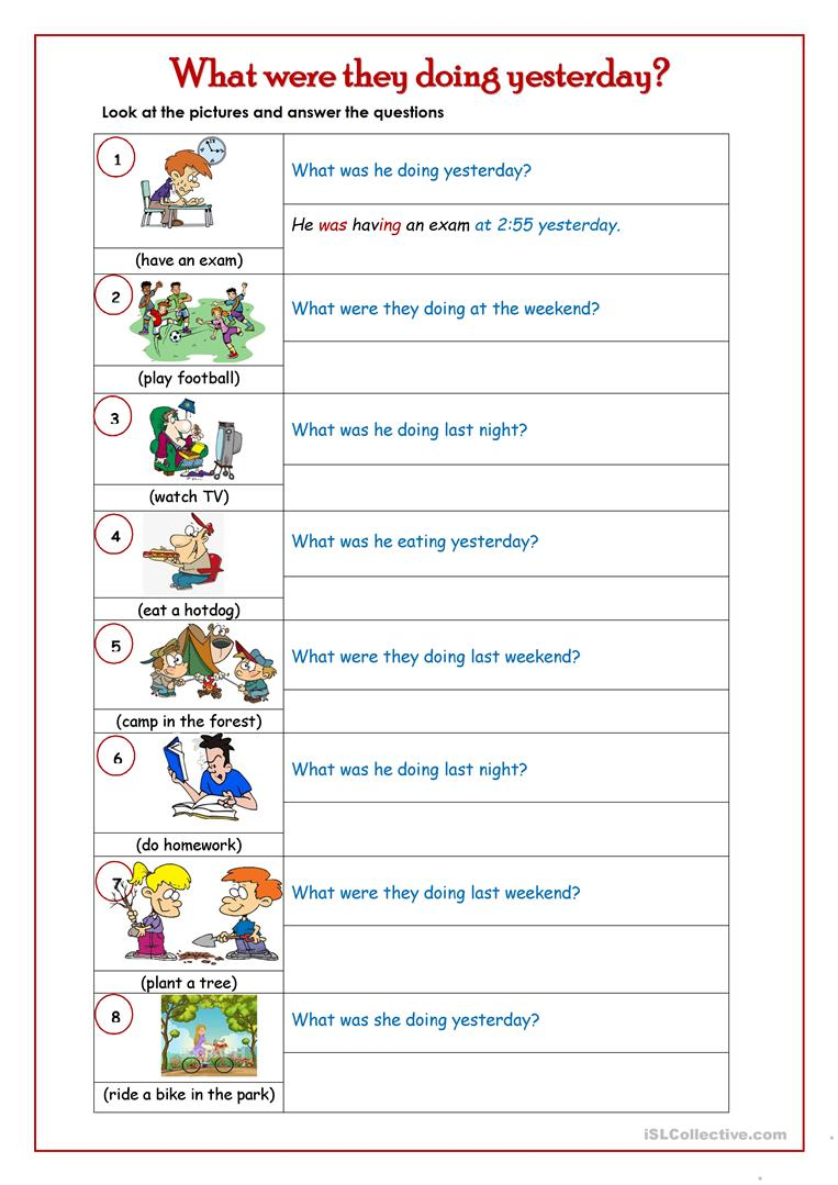 Past Continuous Tense English Esl Worksheets For Distance