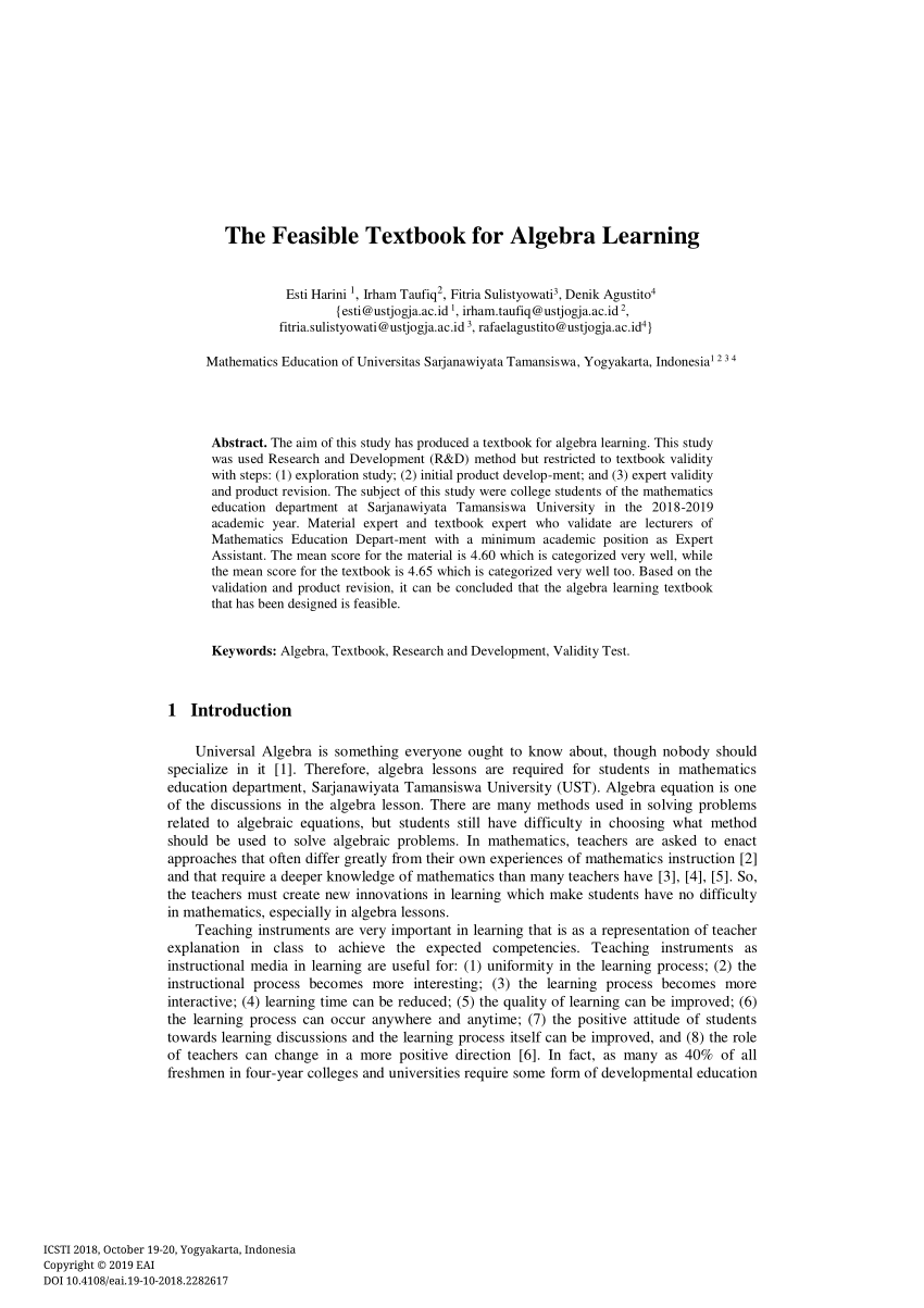 Pdf) The Feasible Textbook For Algebra Learning