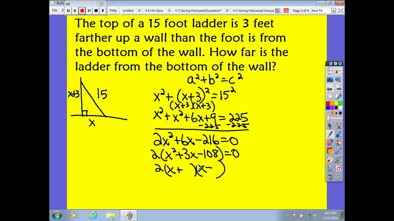 Polynomial Equation Word Problems (Solutions, Examples
