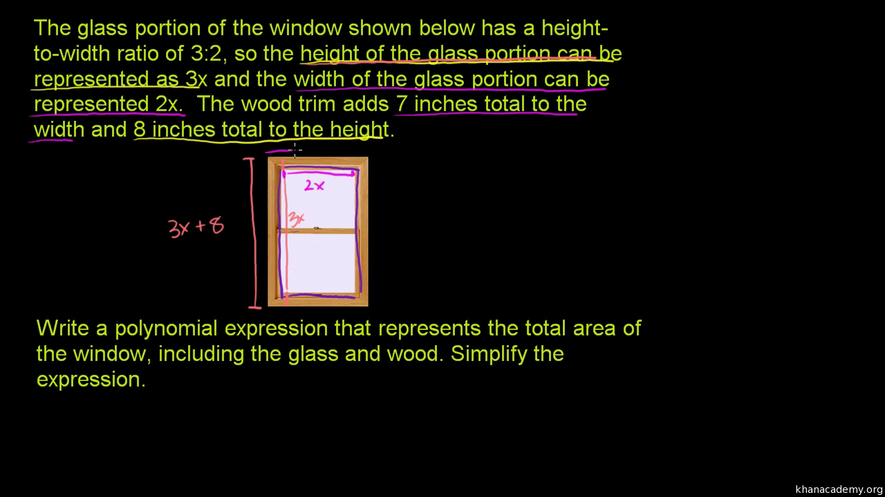 Polynomial Word Problem: Area Of A Window (Video) | Khan Academy