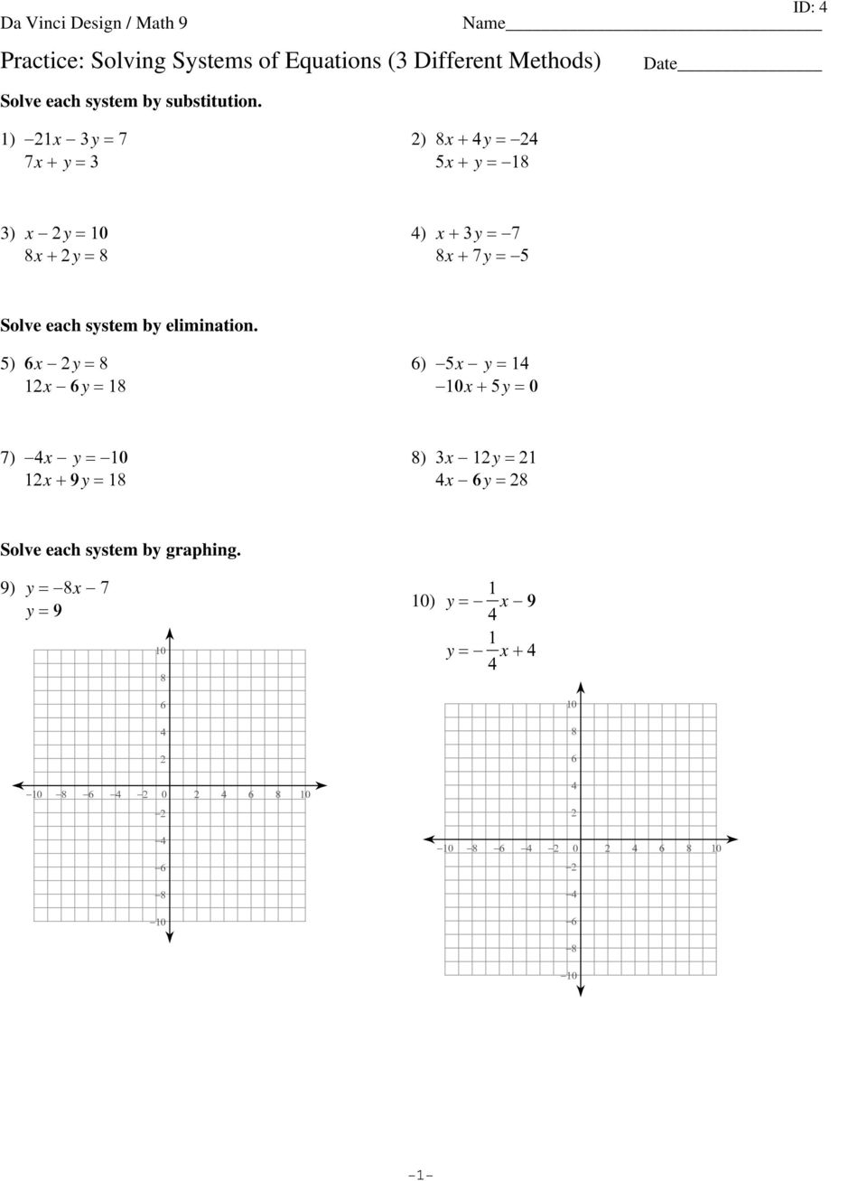 Practice: Solving Systems Of Equations (3 Different Methods