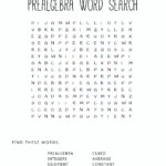 Pre-Algebra Square Word Search Activity. Print It Out And
