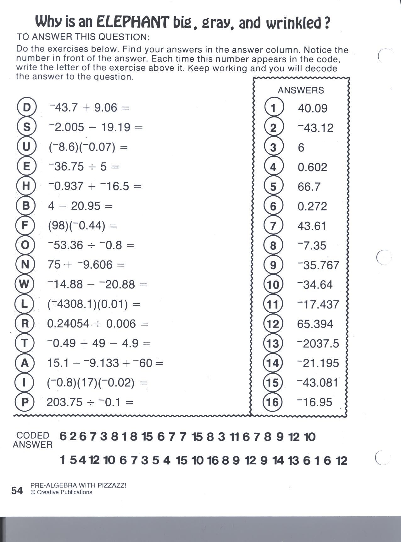 Pre Algebra With Pizzazz Worksheet Answers Resource Math
