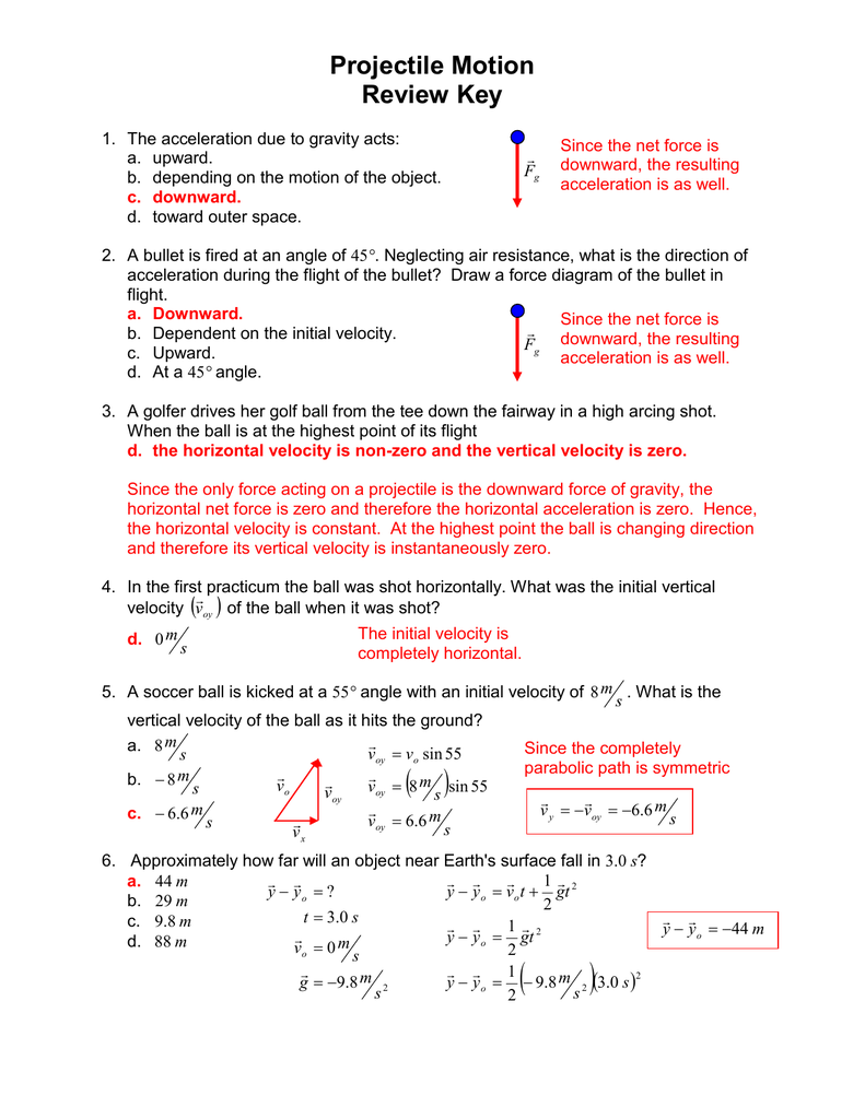 Projectile Motion Review Key
