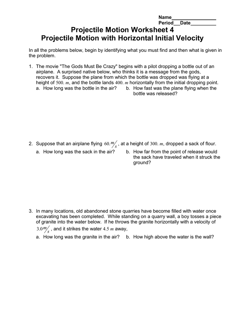 Projectile Motion Worksheet 4 Projectile Motion With