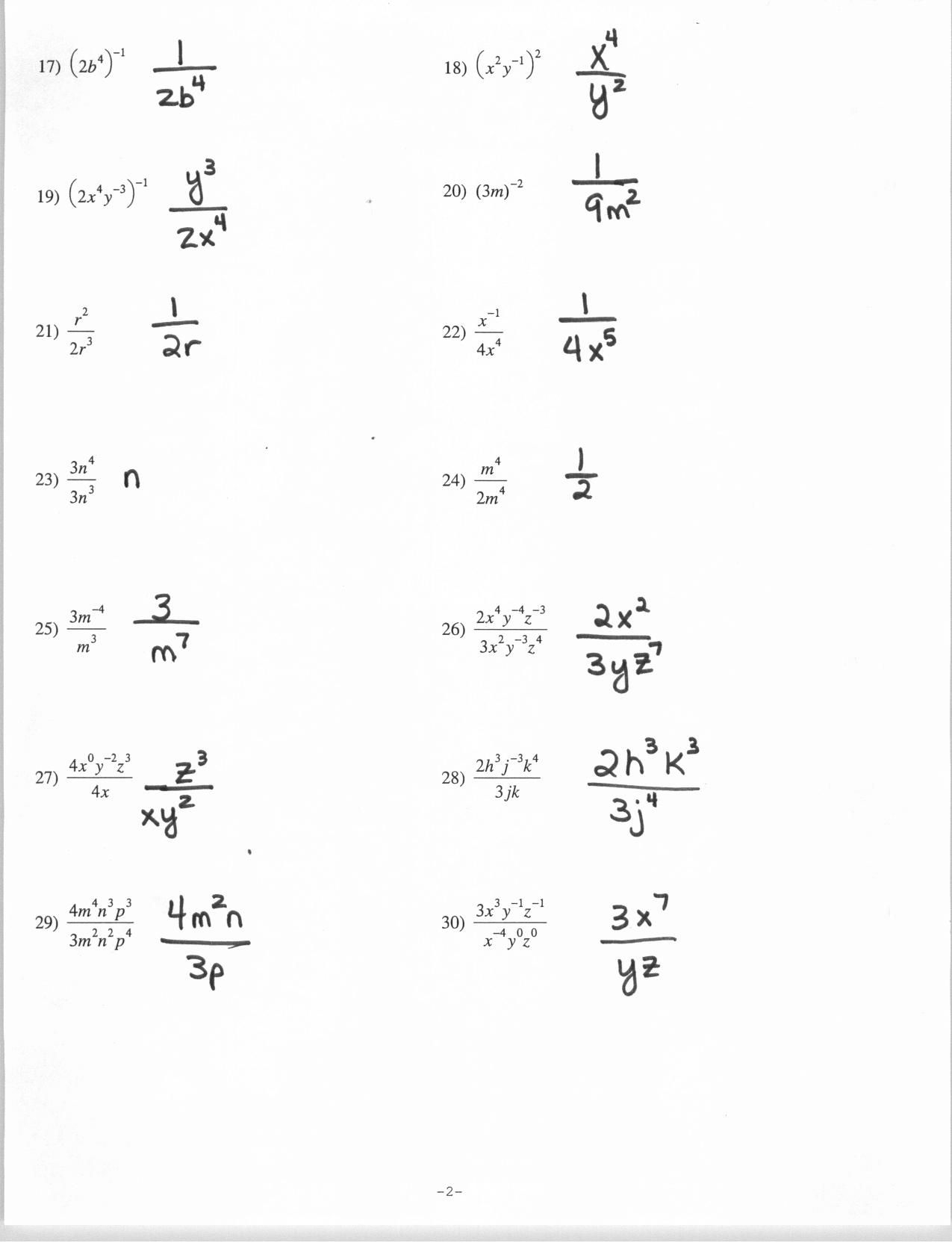 Properties Of Exponents Worksheet And Answers | Kids Activities