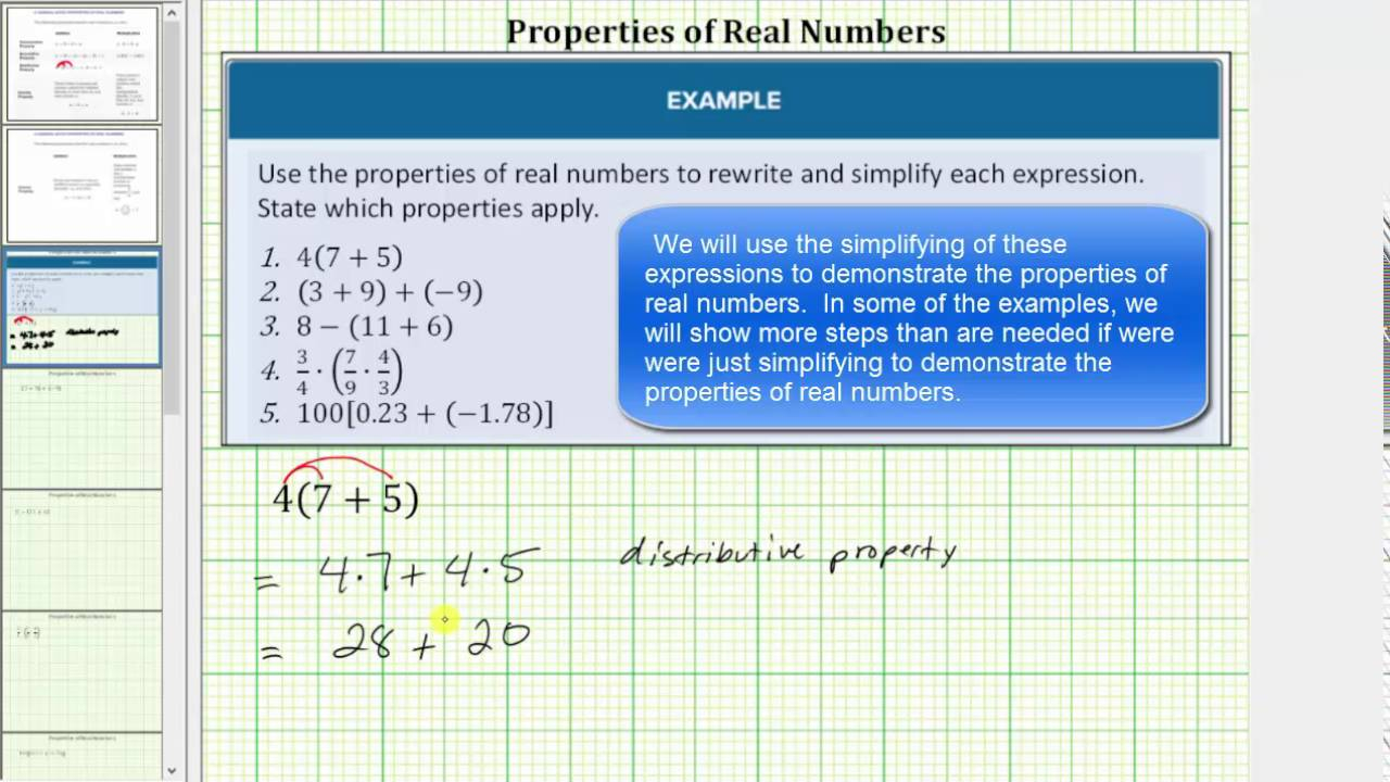 Properties Of Real Numbers (Examples, Solutions, Worksheets