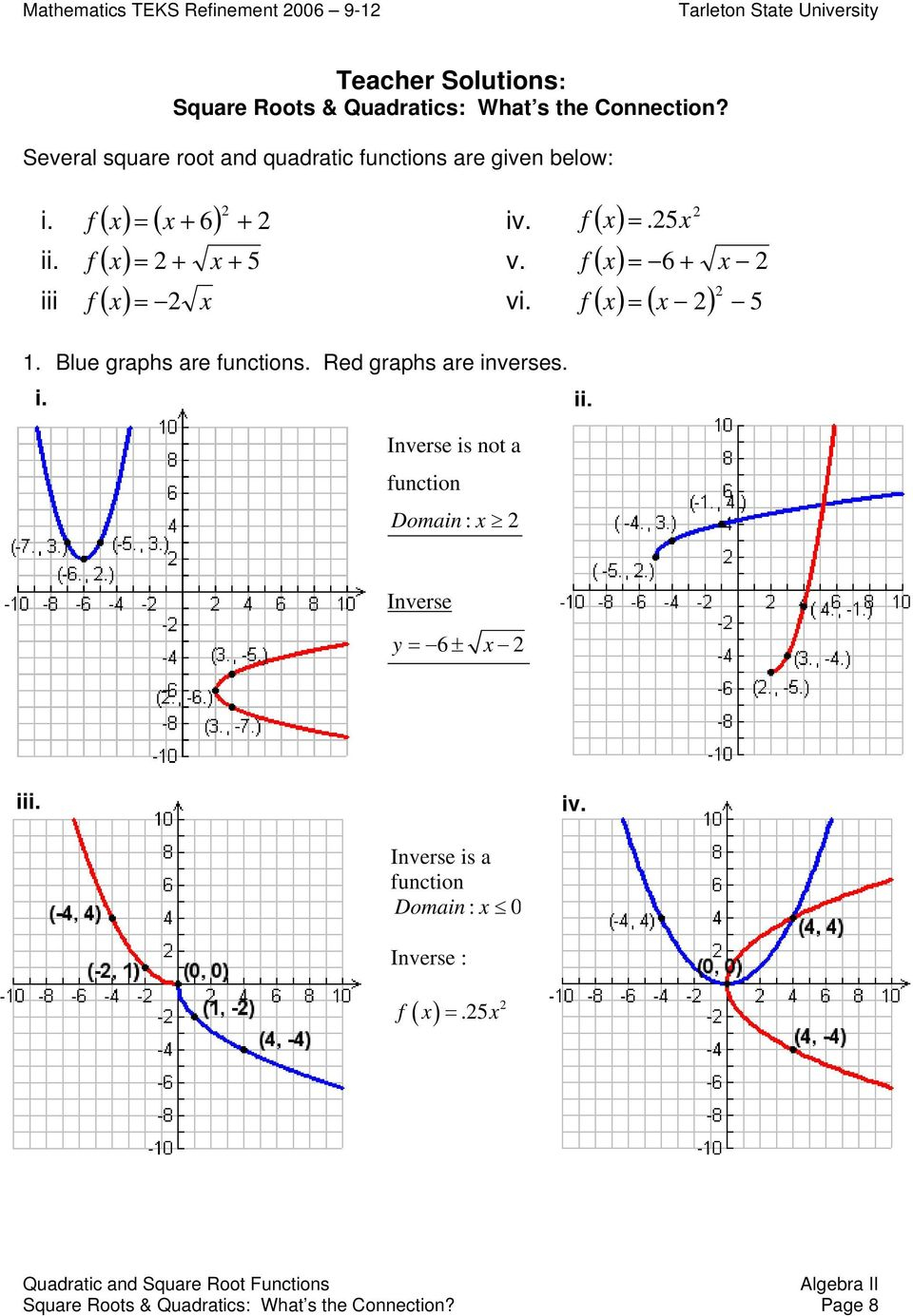 Quadratic And Square Root Functions. Square Roots