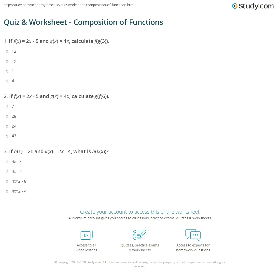 Quiz & Worksheet - Composition Of Functions | Study