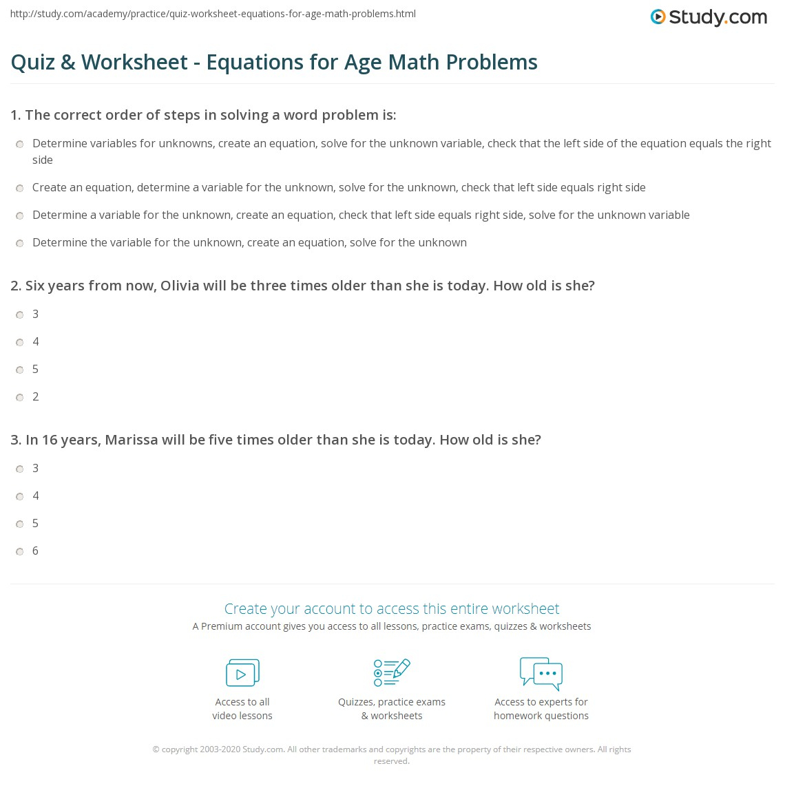 Quiz & Worksheet - Equations For Age Math Problems | Study