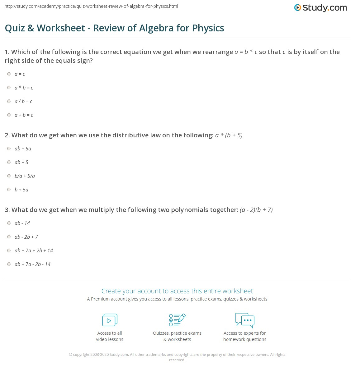 Quiz & Worksheet - Review Of Algebra For Physics | Study