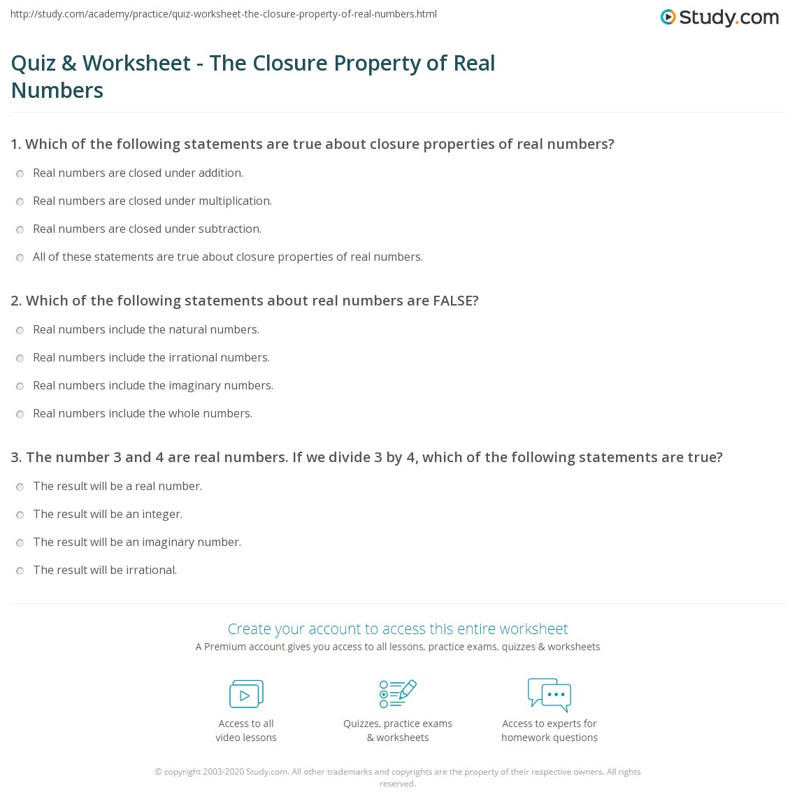 Quiz & Worksheet - The Closure Property Of Real Numbers