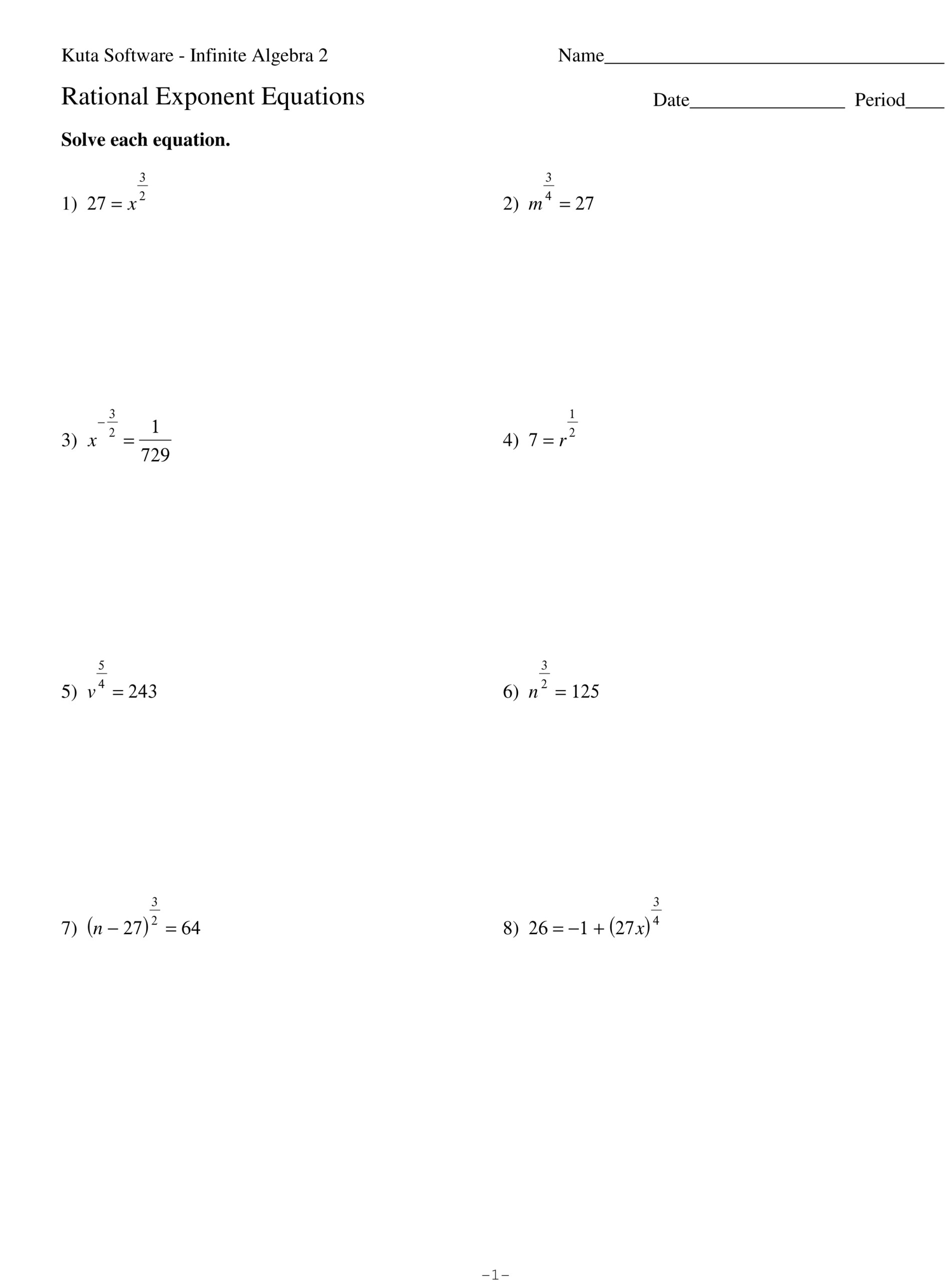 Rational Exponents With Variables Worksheet | Kids Activities